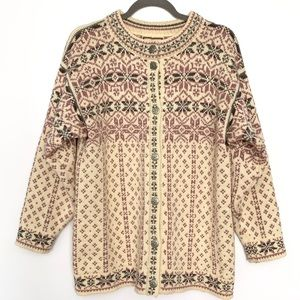 Vintage Dale of Norway Fair Isle Cardigan / Cream